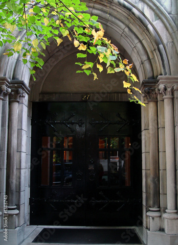 black door and archway on beacon hill
