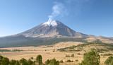 active snowcapped popocatepetl volcano