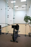 racquetball court with exercise bike poster
