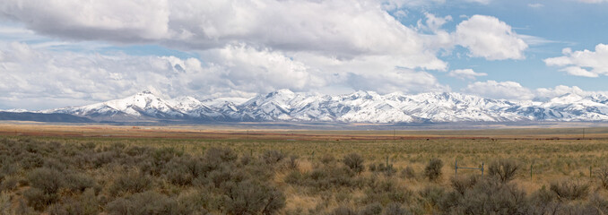 mountains and desert in nevada, united states