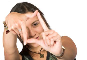 girl doing a hand frame
