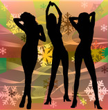 female silhouettes dancing in a disco poster