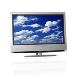 blue cloudy sky on flat screen tv poster