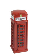 replica of british phone booth (isolated)