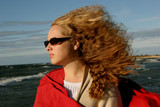 stormy girl in sun glases poster