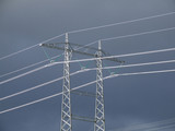 high tension pylon and lines poster