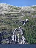 beautiful waterfall in norway poster