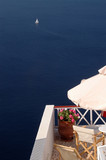 incredible santorini island view greece poster