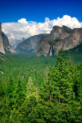 tunnel view, panorama, valley, el capitan, bridalv