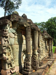elephant statues in cambodia temples - angkor wat