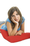 beautiful woman with a soft cushion poster