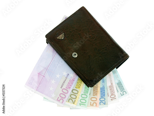 euro banknotes from 5 up to 500 in a purse