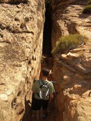 slot canyon hiker