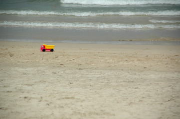 beach and toy truck