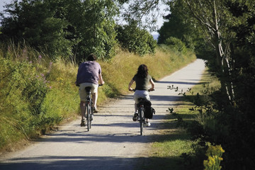 cycle way and footpath couple cycling