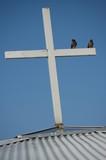 birds on top of cross poster