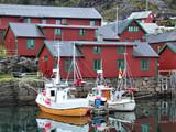 beautiful fishing harbor in norway poster