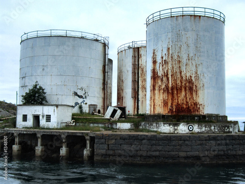 old huge rusty oil tanks