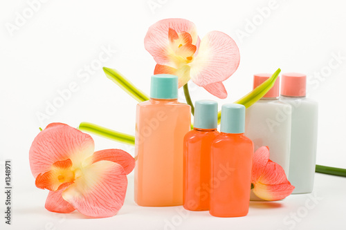 pink composition: cosmetics with flower poster