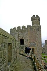 boy at caernarfon castle in north wales