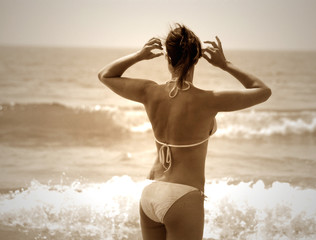 beauty and the beach in sepia