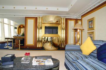 living room at burj al arab hotel, dubai