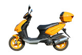 yellow scooter witn clipping path