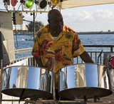 musician on steel drums poster