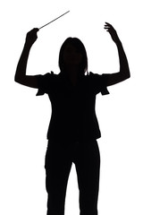 silhouette of female conductor