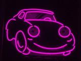 pink neon car poster