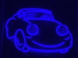 blue neon car poster