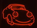 orange neon car poster