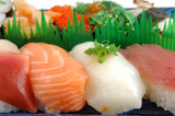 surf clam, salmon, squid and tuna sushi poster