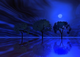 blue night. trio trees