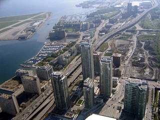view from toronto cn tower on waterfront and lakes