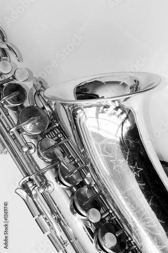 black and white vintage saxophone