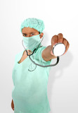 doctor (focus on hand with stethoscope) poster