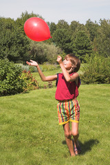 boy plays with air-ball