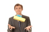 young man juggling a gift poster