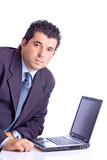 satisfied businessman with a lap top computer poster