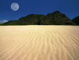 rippled sand landscape with offset moon poster