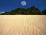 rippled sand landscape with centered moon poster