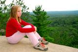 girl edge cliff poster