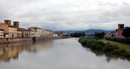 panorama am fluss in florenz, italien