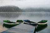 boats on misty morning poster