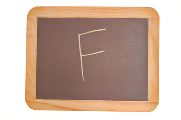 chalkboard with an f written on it