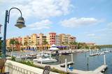 waterfront anf marina in tropical destination poster
