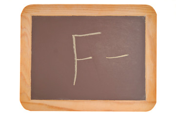 chalkboard with an f minus written on it