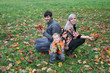 autumn family sit