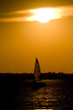 sail boat sunset poster